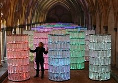 Bruce Munro's Water-Towers at Salisbury Cathedral uses 16,000 plastic bottles