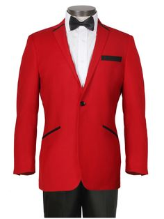 Contemporary Red Tuxedo with Black Trousers by Ferrecci 2 Button