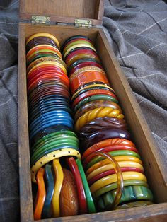 The photographers collection of Bakelite bangles. (This collection rivals that of Nancy Cunard)  WOW!