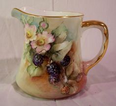 Vintage Bavarian Pitcher Decorated With Hand Painted Blackberries   c.1920