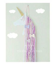 Arco de pelo de unicornio lila rosa crema pelo clip