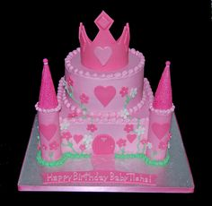Pink Princess Birthday Castle Cake with Tiara by Simply Sweets, via Flickr