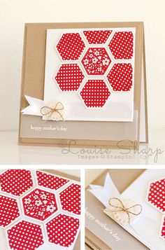 Stampin' Up! ... hand crafted card from INKspired Blog Hop  | By Louise Sharp ... red hexagons make a quilt flower ... luv it!