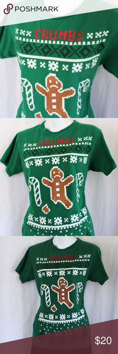 """🎄 Ugly Christmas Sweater T-shirt 🎄 Crumbs! One of many cute and ugly Christmas Sweaters for your tacky event! Ugly Christmas Sweater Parties Christmas Pub Crawls Kitschy Festive Office Apparel Green with Red, White, and Brown Snapped Gingerbread Man with Candy Canes Vintage 16-Bit design Size Small Unisex = Men's Small or Women's Medium 17.5"""" Pit-to-Pit; 23"""" length See my closet for more listings added daily Ink Inc Tops Tees - Short Sleeve"""