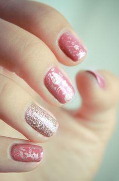 pink rose manicure, pretty nail art