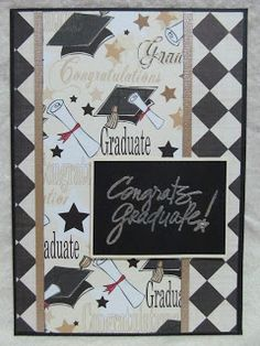 Sparkly papers, trims and ink will show your graduate how happy you are for him/her on your handmade graduation card.