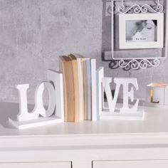 Dekoria, Podpórki na książki Love, komplet 2szt. białe