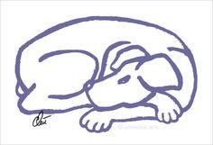 JACQUELINE DITT - Dog Blue  Original Grafik handsigniert Bild Hunde Hund Tier