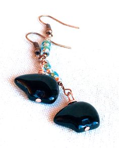 Zuni Fetish Earrings, fetish bear earrings blue & copper earrings dangle drop earrings rustic boho jewelry native american jewelry tribal by FunNFiber on Etsy