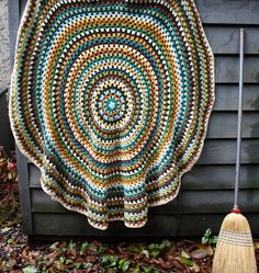 "Mandala... You can find them everywhere.  Beautiful pattern.  Giant granny circle, about 60"" diameter. Knitpicks wool of the andes was used, worsted weight."