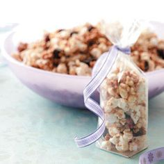 Gluten-Free Snack Mix. This crunchy, on-the-go snack makes a great treat at any time of day. Kids will love the sweet cinnamon flavor and the chance to eat with their hands.—Healthy Cooking Test Kitchen