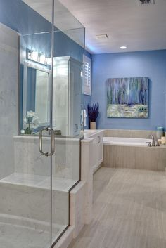 Thought of you when I saw this pic! Beautiful lavender/blue in the master bath. This is a color I think even most men would love! - Room Resolutions, Inc