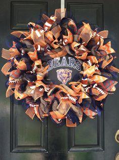 Large Elegant Burlap Chicago Bears NFL Pro Football Wreath Orange Blue Chevron Ribbon