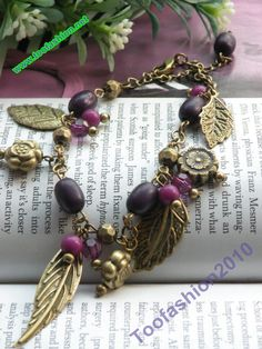 Retro copper flower with 4 leaves purple beads by toofashion2010, $2.99