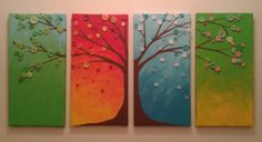 Awesome Four Seasons Tree Button Canvas Art <3