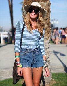 Denim Shorts & Stripes