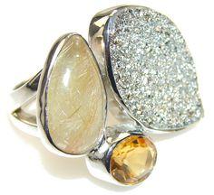 $60.33 Secret!! Silver Druzy Sterling Silver ring s. 6 1/4 at www.SilverRushStyle.com #ring #handmade #jewelry #silver #druzy