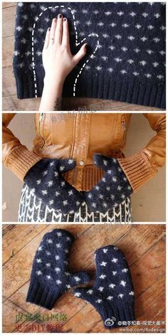 Easiest way to make mittens: Felt a sweater by washing and drying. Cut and sew. I suggest doing the same with some polar fleece for lining. (Picture only.)