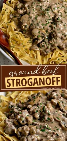 An easy homemade dinner recipe perfect for busy weeknights! Ground Beef Stroganoff is a more frugal version of the classic beef stroganoff with all of its delectable flavors. This hearty meal will be enjoyed by the whole family. Make this quick and easy comfort food! Easy Ground Beef Stroganoff, Homemade Beef Stroganoff, Hamburger Stroganoff, Stroganoff Recipe, Ground Beef Recipes, Pork Recipes, Cooking Recipes, Yummy Recipes, Free Recipes