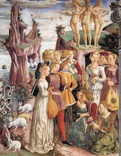 Allegory of April - Triumph of Venus (detail) fresco by Francesco del Cossa. Renaissance Kunst, Renaissance Portraits, Renaissance Paintings, Renaissance Fashion, Italian Renaissance, Fresco, 15th Century Clothing, Famous Artists, Middle Ages