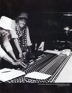 Quincy Jones and Michael Jackson recording at the studio