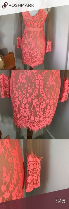 Very sexy lace mesh see-through coral dress New with tags's true medium even a small Dresses Midi