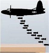 WW2 Bomber and Bombs  Military Wall Decal