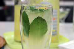 2 oz. tequila  1 oz. homemade limoncello  juice from 1/2 lemon  1 tsp simple syrup  sprig frest mint