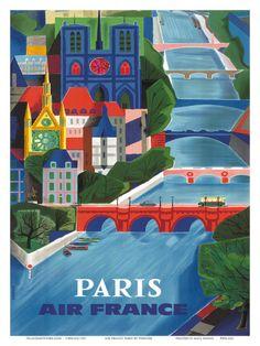 Air France: Paris - La Seine, c.1953    by Jean Vernier