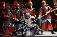 A scene from the Chinese opera Farewell My Concubine, a story from 200 BCE, still performed in modern times.