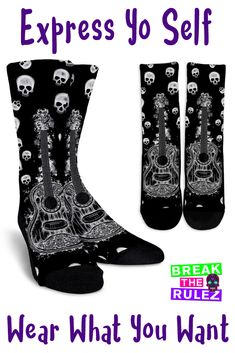 6f41c683caec Check out our Guitar and Skulls Socks! They re so unique! They
