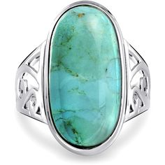 Bling Jewelry Bling Jewelry Natural Turquoise Oval 925 Sterling Silver... (€36) ❤ liked on Polyvore featuring jewelry, rings, blue, bohemian rings, turquoise cocktail ring, blue ring, sterling silver turquoise ring and oval ring