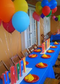 Love the primary colors and especially the Happy Birthday letters in center of table!!  Amy Ro. Creations: Sonic Birthday