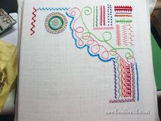 """Embroidery Stitch Samplers  Fabric to Use (sort of a general all-purpose)  The linen I find most pleasurable to work on (pictured in the photo above) for this type of random """"sample stitching"""" is Round Yarn linen by Legacy"""