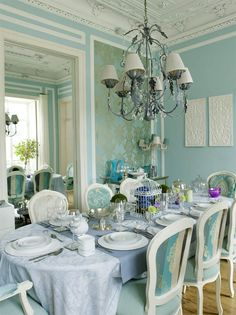 Light blue dining room