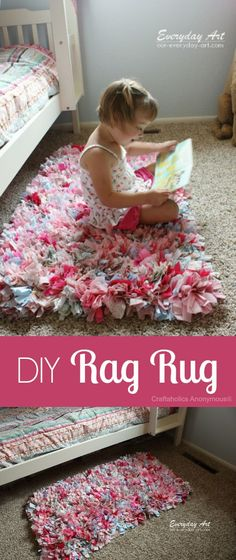 DIY Rag Rug tutorial. Cute for kids rooms or reading nook. Could use t-shirts or jeans to make.