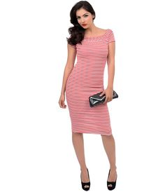 1960s Style Striped Nautical #PinUp Wiggle Dress #uniquevintage