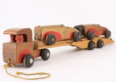 1940's Wooden Car Carrier with Two Cars - Holgate Toys.