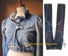 Another great idea what to do with old Jeans. But i don't like ruffels,so i will choose another neckline detail