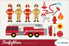 Firefighters Clip Art by cloudstreetlab on @creativemarket