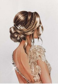 ▷ beautiful drawing ideas with detailed instructions, Nice picture to paint, woman in white evening dress with crystals, elegant updo.