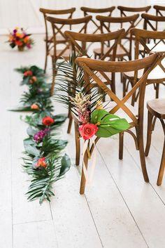 Tropical wedding inspiration at a barn