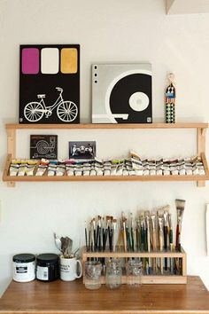 Trendy Home Studio Space Study Ideas My Art Studio, Painting Studio, Home Studio, Studio Ideas, Studio Spaces, Clay Studio, Studio Apartments, Painting Art, Painting Shelves