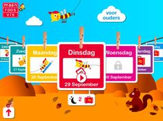 Maan roos vis kalenderapp – GRATIS app Doelgroep: Kinderen in groep 3 Wat leert je kind van deze app: * Dagen van de week * Structuur * Plannen Ipad, Tablets, School, Kids, Young Children, Boys, Children, Boy Babies