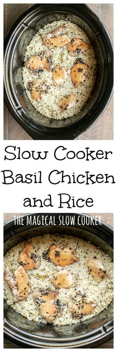 Slow Cooker Basil Chicken and Rice xylitol recipes; Crock Pot Slow Cooker, Crock Pot Cooking, Pressure Cooker Recipes, Crock Pots, Easy Cooking, Healthy Cooking, Healthy Eating, Crockpot Recipes, Cooking Recipes