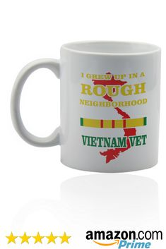 Vietnam veteran white ceramic mug for coffee or tea 11 oz. Gift cup.