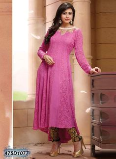 7333f93d6e6 Stylish Pink Coloured Georgette Anarkali Salwar Suit Anarkali Dress