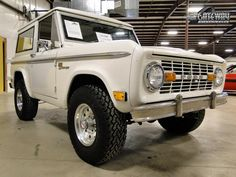 Restored, white 1969 Ford Bronco Sport 4x4