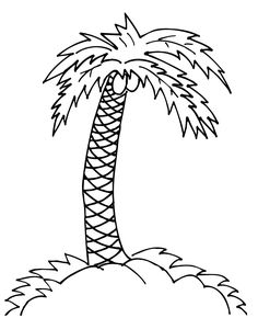 Palm Tree Coloring Pages For Kids. The palm tree, which has a thick trunk, large leaves, and can measure 20 to 30 m. is not a tree! In botany, a tree is a pla Beach Coloring Pages, Cat Coloring Page, Cartoon Coloring Pages, Mandala Coloring Pages, Animal Coloring Pages, Coloring Pages To Print, Printable Coloring Pages, Coloring For Kids, Coloring Pages For Kids