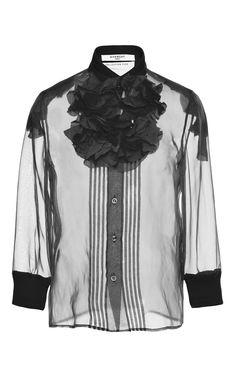 Ruffle applique Silk Organza Shirt by GIVENCHY for Preorder on Moda Operandi